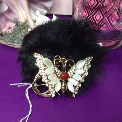 Jo's Bibs and Bobs - Diamante and Black Faux Rabbit Fur Butterfly Keyring and Bag Chain
