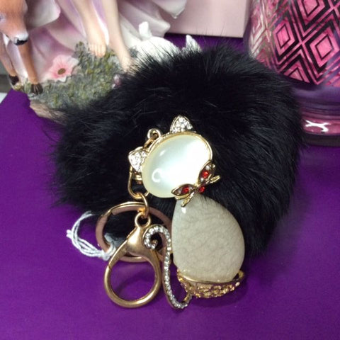 Jo's Bibs and Bobs - Diamante and Stone Cat Keyring and Bag Ring