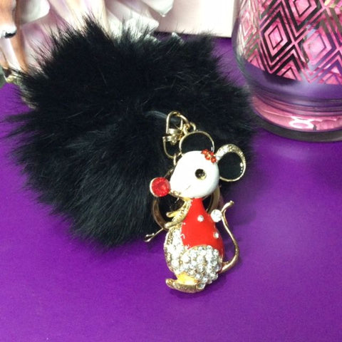 Jo's Bibs and Bobs - Diamante and Faux Rabbit Fur Mouse Keyring and Bag Ring