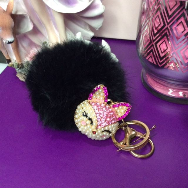 JATOE's Jo's Bibs and Bobs range includes Black Faux Rabbit Fur Keyrings and Bag Chains including the Pink Diamante Cat Keyring and Bag Chain