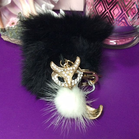 Jo's Bibs and Bobs - Diamante and Black Faux Rabbit Fur Fox Keyring and Bag Chain
