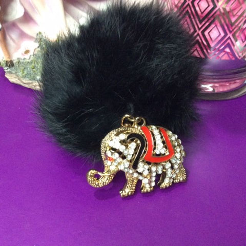 Jo's Bibs and Bobs - Diamante and Black Faux Rabbit Hair Elephant Keyring and Bag Chain
