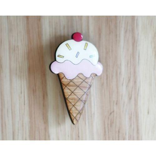 Pink Ice Cream Brooch from JATOE - sells Bok Bok B'Gerk brooches and jewellery, jewelry.