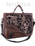"ReStyle - ""BROWN MECHANISM"" Steampunk satchel bag irregular briefcase"