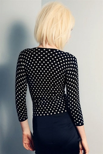 Australian online store JATOE still sells Wheels and Dollbaby clothing and jewellery including the classic Navy and Cream Polka Dot Cardigan