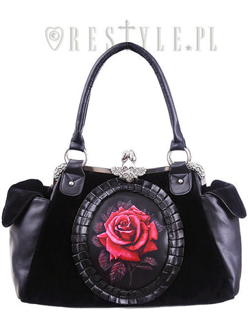 ReStyle - Red Rose Cameo Black Velvet Gothic Romantic Bag