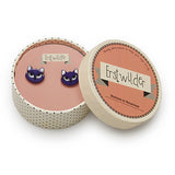 Erstwilder - Cats - Carla Cat Purple Earrings