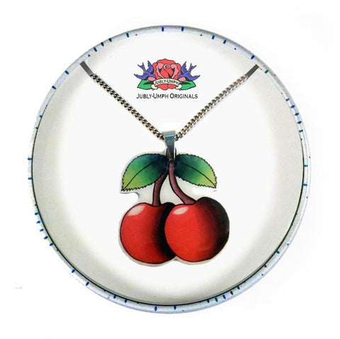 Jubly Umph Necklace - Cherries Pendant Necklace in a Tin.