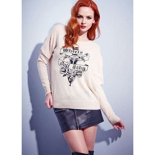 Wheels and Dollbaby Oversized Creme Dagger Sweater
