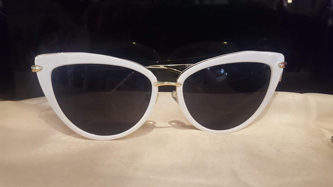 Collectif UK - Dita White and Gold Sunglasses