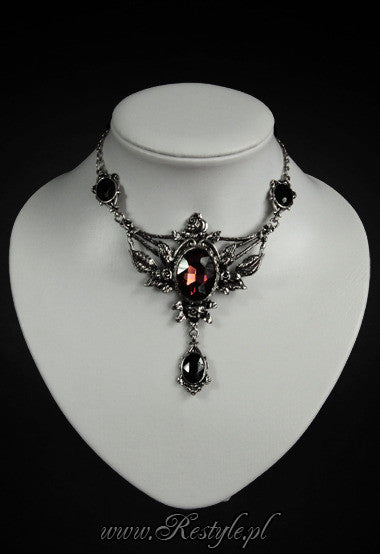 ReStyle - Evening Necklace Wild Roses and Burgundy Stone