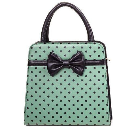 Banned - Carla Antique Green with Black Polka Dots Vintage Inspired Handbag