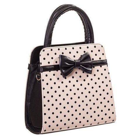Banned - Carla Beige with Black Polka Dots Vintage Inspired Handbag