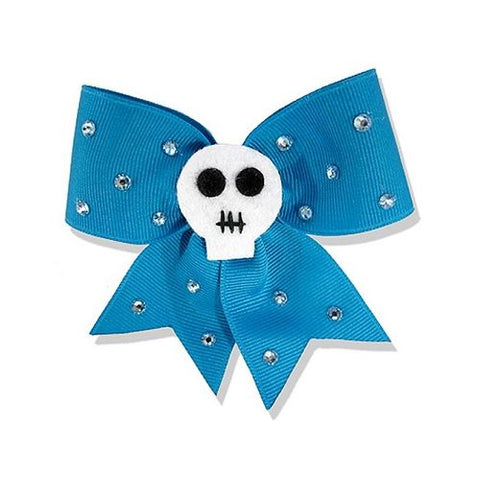 Jessica Louise - Teal Skull and Diamante Hair Bow