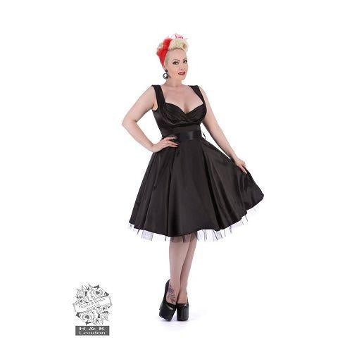 JATOE sells the Hearts and Roses London Black Satin 50's Prom Swing Dress