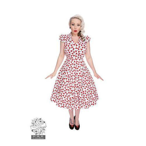 Hearts and Roses - White Cherry Blossom Dress