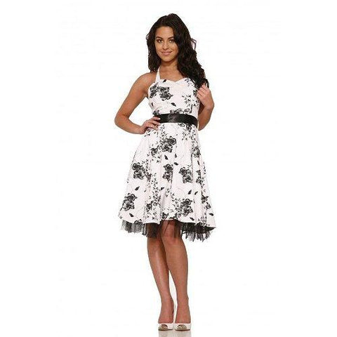 Hearts and Roses White Black Floral Dress