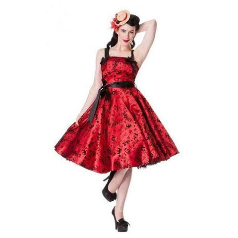 Hell Bunny Red Satin Flocked Tattoo Dress