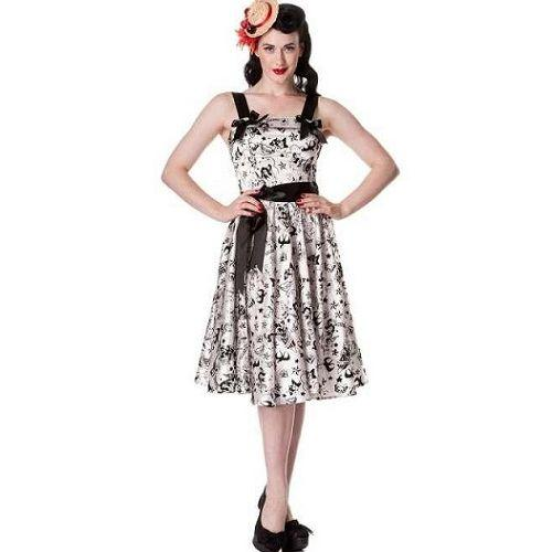 JATOE sells the Hell Bunny White Satin Flocked Tattoo Dress