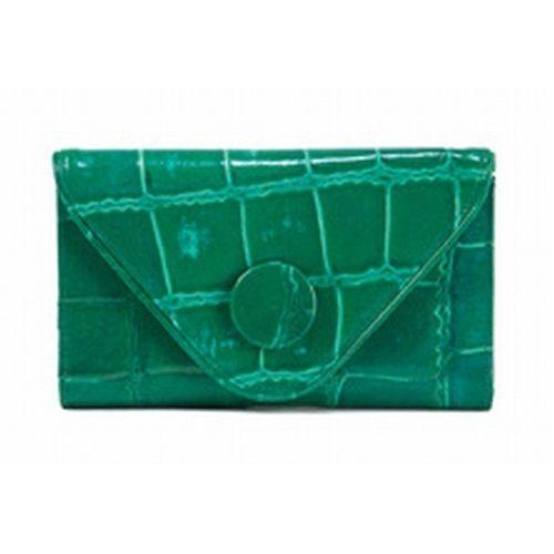 JATOE sells Manzoni Handbags and Wallets Green Croc Embossed Wallet