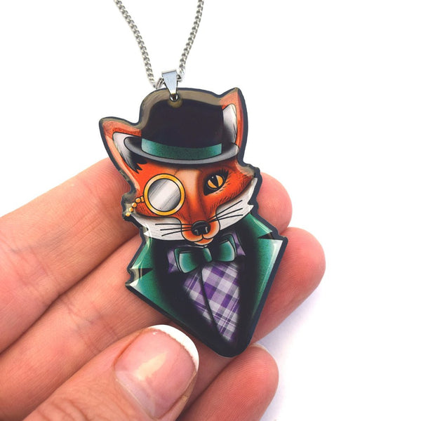 Jubly Umph Necklace Felix the Dapper Fox Pendant Necklace