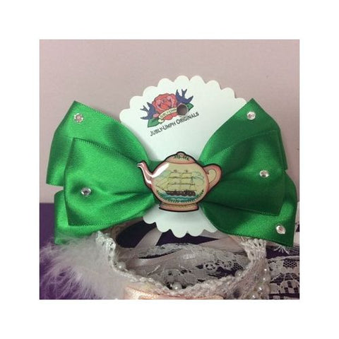 Jubly Umph - Green Teapot Hair Bow