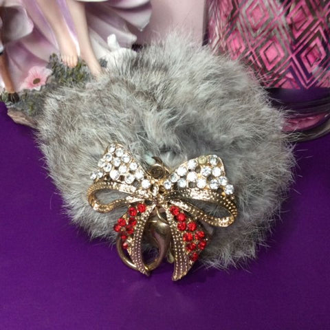 Jo's Bibs and Bobs - Diamante and Grey Faux Rabbit Fur Bow Keyring and Bag Chain