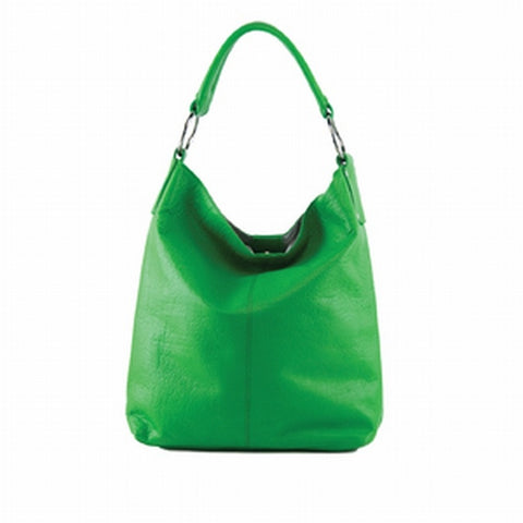 Manzoni - N11 - Green Leather Soft Edged Tote Bag