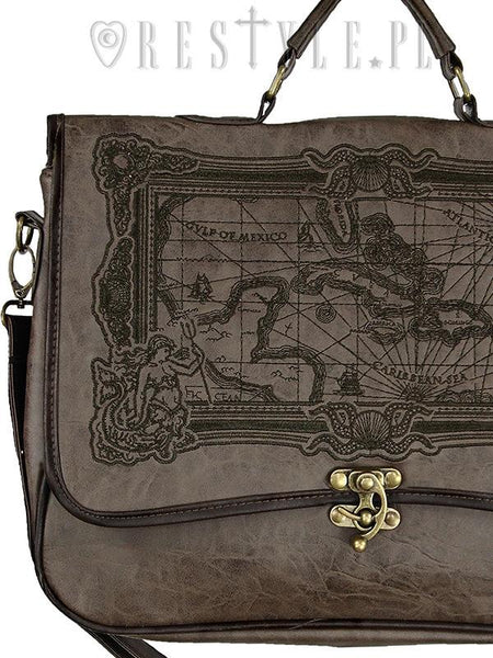 "ReStyle - Briefcase ""MAP BROWN"" Gothic Satchel Bag"