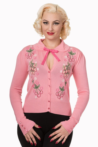 JATOE sells the Banned Pink with Strawberry and Flowers Applique Cardigan