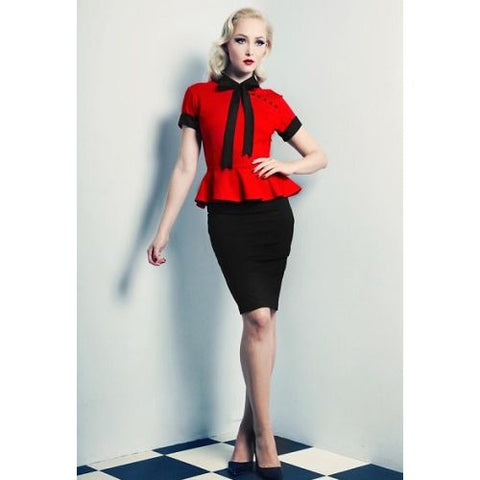 Wheels and Dollbaby Red Peter Peplum Top