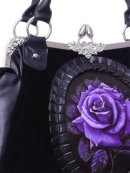 ReStyle Purple Rose Cameo Gothic Romantic Handbag