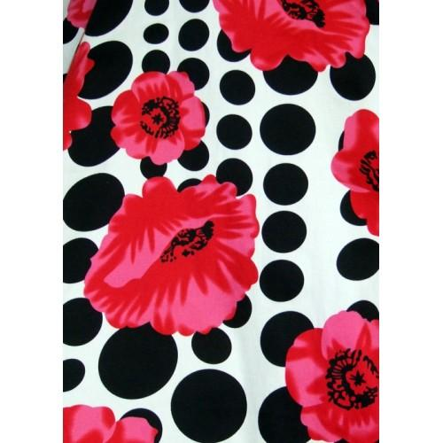 Hearts and Roses White Black Dot Floral Dress