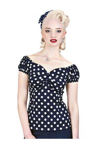 Collectif UK - Navy and White Spotted Dolores Top
