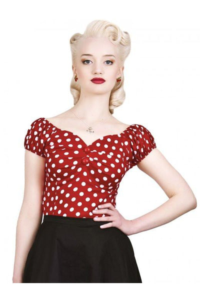 Collectif UK - Red and White Spotted Dolores Top