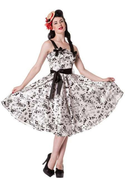 Hell Bunny White Satin Flocked Tattoo Dress