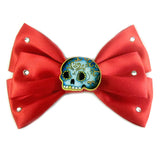 Australian online store JATOE still sells Jubly Umph hair bows including this red satin skull hair bow! www.jatoe.com.au