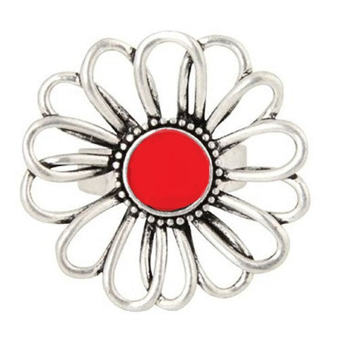Anna Nova - Treasury Flower Silver and Red Ring