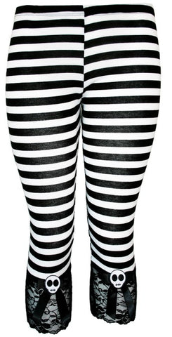 Jessica Louise - Black and White Striped Capris Leggings with Black Bow and Felt Skull