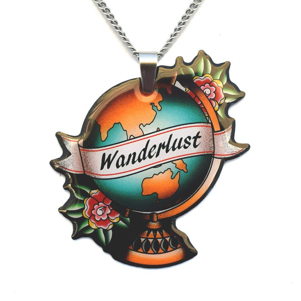 The Jubly Umph Wanderlust Globe Pendant Necklace goes with so many of the other merchandise of the Wanderlust collection. It is sold at JATOE - Just a Touch of Everything.