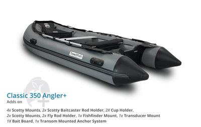 Swellfish 350 Classic Inflatable Boat Angler Plus Package with Scotty Mounts