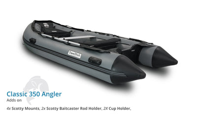 Swellfish 350 Classic Inflatable Boat Angler Package with Scotty Mounts