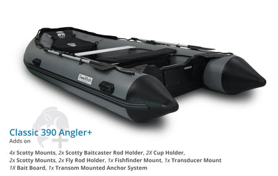 Swellfish 390 Classic Inflatable Boat Angler Plus Package with Scotty Mounts