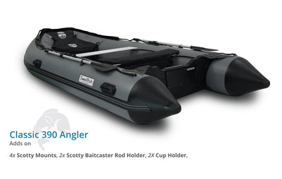 Swellfish 390 Classic Inflatable Boat Angler Package with Scotty Mounts