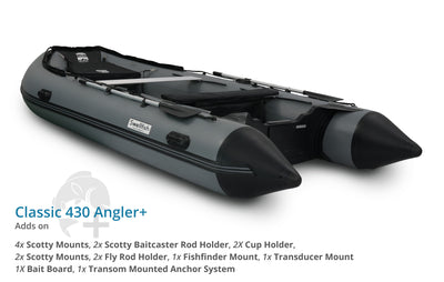 Swellfish 430 Classic Inflatable Boat Angler Plus Package with Scotty Mounts