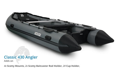 Swellfish 430 Classic Inflatable Boat Angler Package with Scotty Mounts
