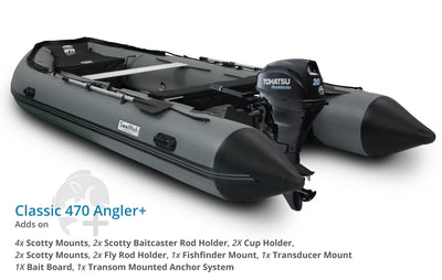 Swellfish 470 Classic Inflatable Boat Angler Plus Package with Scotty Mounts