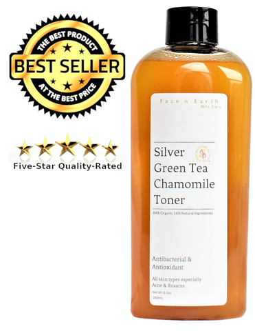 Colloidal Silver, Green Tea & Chamomile Toner 84% Organic Vegan 8.5oz