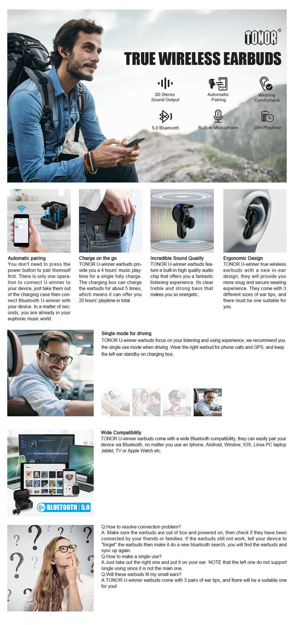 Tonor 5.0 Auto Pairing Wireless Bluetooth Headphones