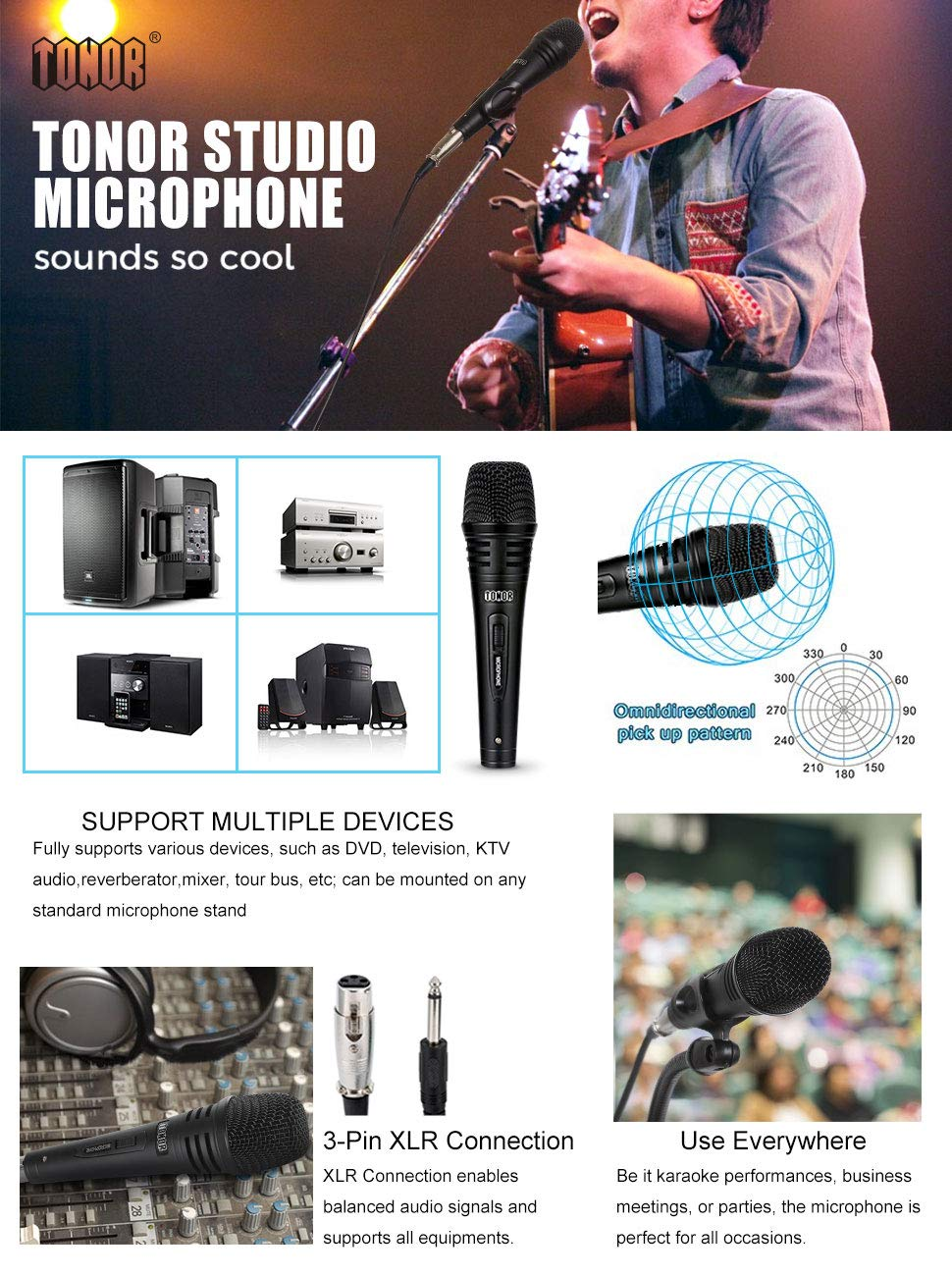 TONOR Pro Vocal Dynamic Microphone